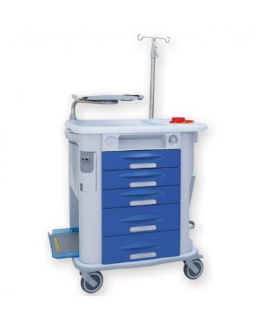 Carrello emergenza - 5 cassetti - asta portaflebo, porta defibrillatore, tavola per massaggio cardiaco - cm 77,5x71x92h
