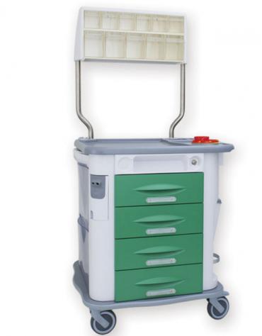 Carrello terapia AURION, verde, con 4 cassetti e cassetti superiori a 11 scomparti - cm 77,5x71x92h