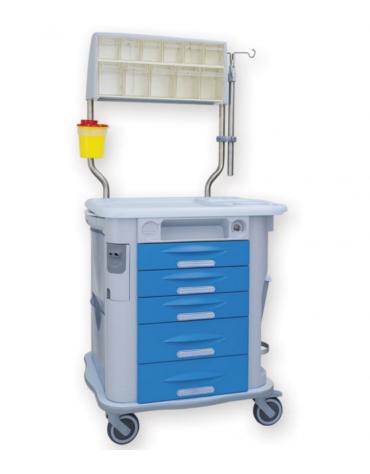 Carrello terapia, azzurro, 5 cassetti, con asta portaflebo, cestino e cassetti superiori a 11 scomparti - cm 77,5x71x92h