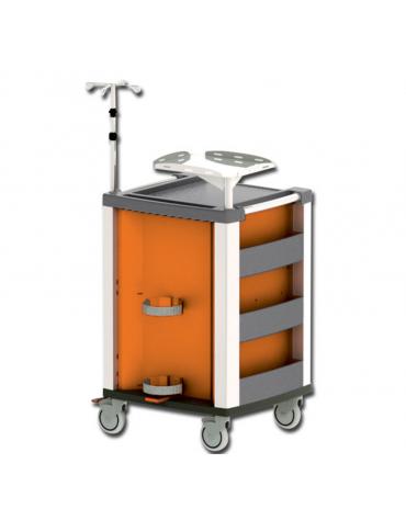 Carrello emergenza - con asta porta flebo a 4 ganci, ripiano porta defibrillatore e porta bombola - arancione - cm 60,5x65,5x97h