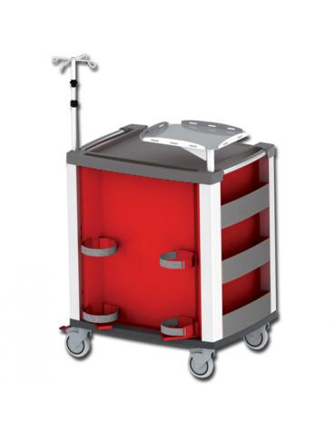 Carrello emergenza - con asta porta flebo a 4 ganci, ripiano porta defibrillatore e porta bombola - rosso - cm 60,5x80,5x97h