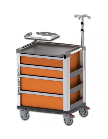 Carrello emergenza - con asta porta flebo a 4 ganci, ripiano porta defibrillatore e porta bombola - arancione - cm 60,5x80,5x97h
