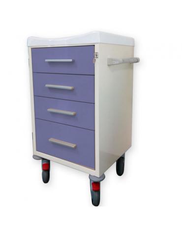 Carrello ospedaliero utility  in acciaio - top in tecnopolimero con bordo - cm 60x50x100h