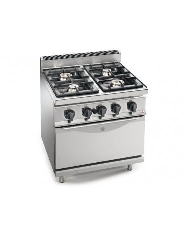 Cucina a gas 4 fuochi ALTA POTENZA con forno a gas GN 2/1 - cm 80x70x85/90h