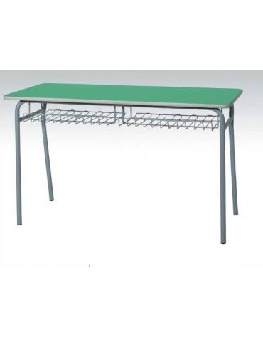 Banco biposto senza poggiapiedi - sottopiano griglia metallica CM 120X50