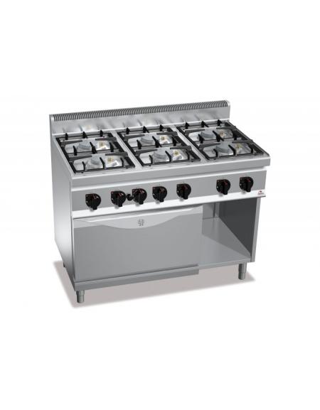 Cucina a gas 6 fuochi media potenza con forno a gas gn 2 1 - Migliore cucina a gas ...