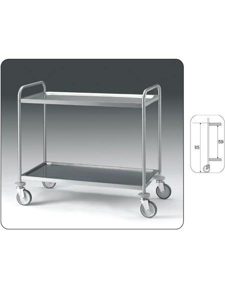 Carrello inox con N° 2 Piani stampati -cm 89x59x95h