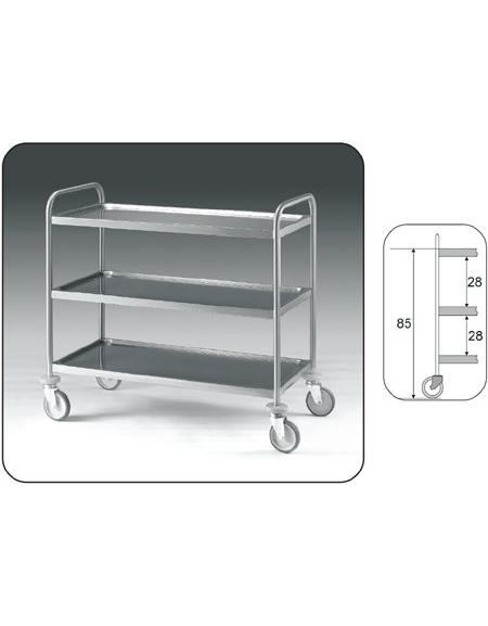 Carrello inox con N° 3 Piani stampati imbullonati - cm 89x59x95h