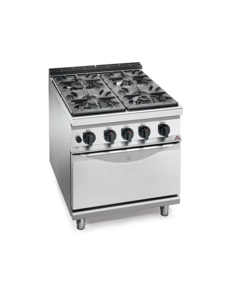 Cucina a gas 4 fuochi alta potenza con forno a gas gn 2 1 - Cucina con forno a gas ...
