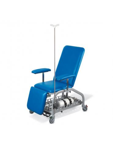 Poltrona per prelievo, con ruote - colore blu - cm 185x67x58h