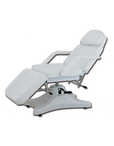 Poltrona meccanica  con schienale e poggiapiedi regolabili - colore bianco - cm 186x63x56/75h