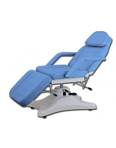 Poltrona meccanica  con schienale e poggiapiedi regolabili - colore azzurro - cm 186x63x56/75h