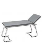 Lettino da visita medica con telaio in acciaio bianco - colore grigio - cm 180x61x75h