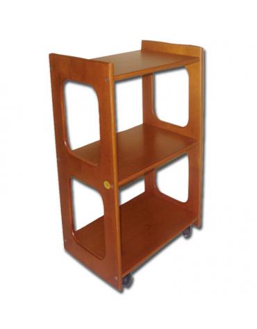 Carrello in legno di faggio a 3 ripiani per lettini in legno - cm 50x40x77h