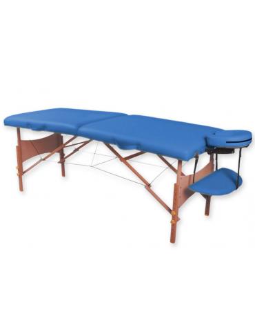 Lettino da massaggio in legno pieghevole a 2 sezioni - colore blu - cm 185x70x62/87h