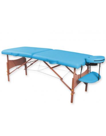Lettino da massaggio in legno pieghevole a 2 sezioni colore turchese- cm 185x70x62/87h