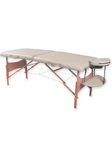 Lettino da massaggio in legno pieghevole a 2 sezioni - colore crema - cm 185x70x62/87h