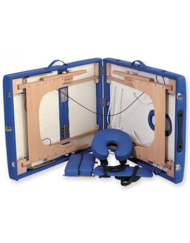 Lettino da massaggio in legno pieghevole a 3 sezioni - colore blu - cm 185x70x62/87h