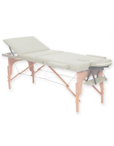 Lettino da massaggio in legno pieghevole a 3 sezioni - colore crema - cm 185x70x62/87h