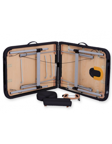 Lettino da massaggio in alluminio - pieghevole a 2 sezioni - colore nero - cm 186x70x59/80h