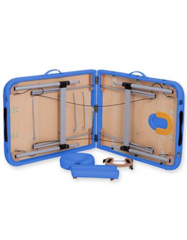 Lettino da massaggio in alluminio - pieghevole a 2 sezioni - colore blu - cm 186x70x59/80h