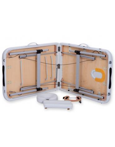 Lettino da massaggio in alluminio - pieghevole a 2 sezioni - colore bianco - cm 186x70x59/80h