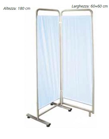 Paravento a 2 ante - trevira colore azzurro - cm 60x60x180h