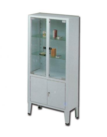 Armadio-vetrina in acciaio verniciato e vetro temperato - 3 ripiani - cm 75x38x169h
