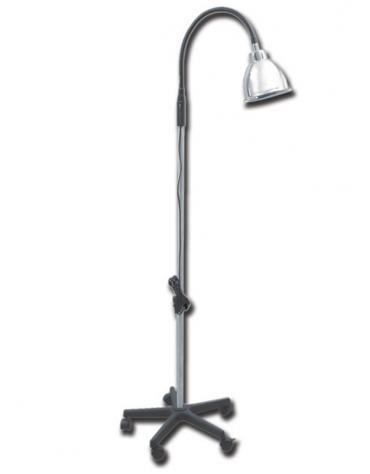 Lampada non medicale in alluminio e base in plastica a 5 raggi con rotelle