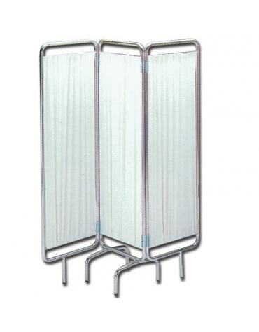 Paravento a 3 sezioni -  in tubolare d'alluminio montata su piedini - tende in plastica - cm 150x170h