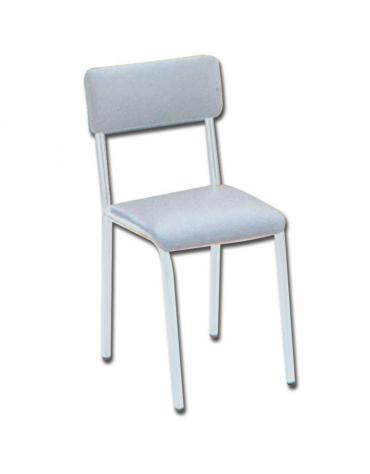 Sedia da attesa con schienale e seduta imbottiti amovibili - in acciaio bianco verniciato