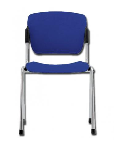 Sedia da attesa in acciaio cromato e seduta in plastica - impilabile - colore blu