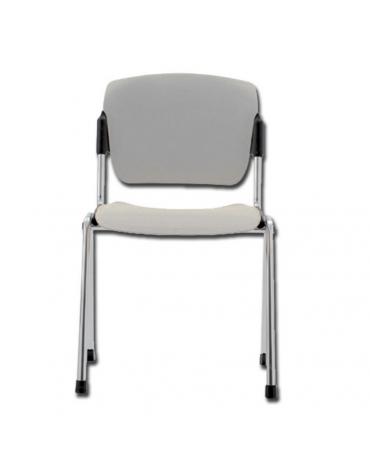Sedia da attesa in acciaio cromato e seduta in plastica - impilabile - colore grigio