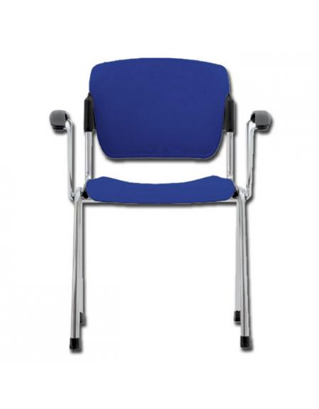 Sedia da attesa in acciaio cromato e seduta in plastica - impilabile - con  braccioli - colore blu