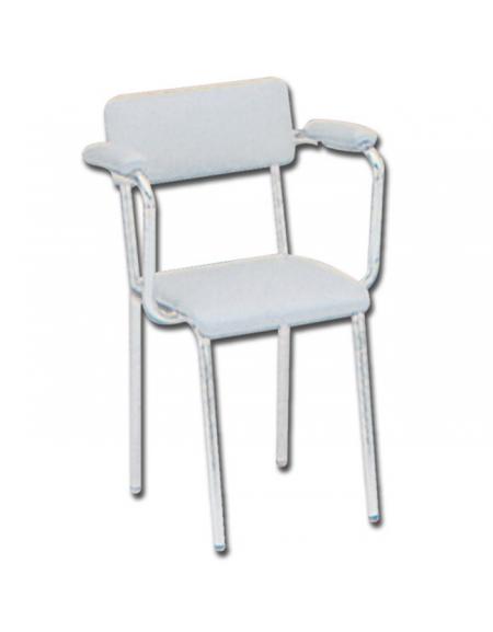 Sedia seduta imbottita con braccioli in acciaio bianco - Sedia imbottita con braccioli ...