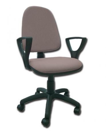 Sedia imbottita con schienale e braccioli - base girevole in polipropilene - tessuto grigio - cm 56X49X42/52h
