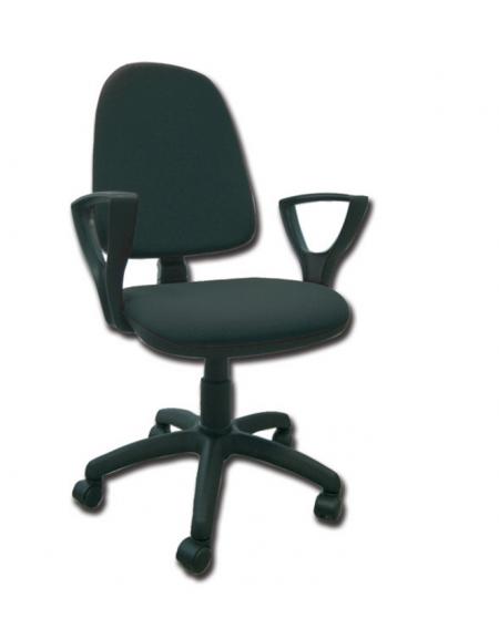 Sedia imbottita con schienale e braccioli - base girevole in polipropilene  - similpelle nero - cm 56X49X42/52h