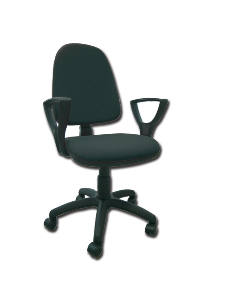 Sedia imbottita con schienale e braccioli base girevole in polipropilene similpelle nero - Sedia imbottita con braccioli ...