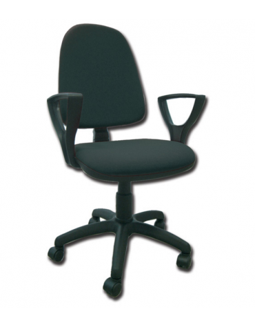 Sedia imbottita - senza braccioli - con base girevole in polipropilene - similpelle - nero - cm 56X49X42/52h