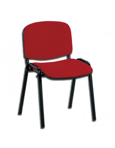 Sedia imbottita con telaio e 4 gambe verniciati - tessuto rosso - cm 53x43x45h