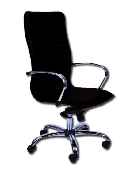 Sedia schienale alto - similpelle nero - base e braccioli in acciaio ...
