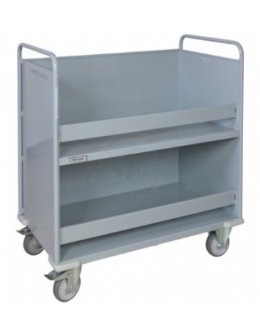Carrello porta faldoni/fascicoli a 2 piani -  4 ruote gomma Ø cm 12,5 (2 girevoli con freno - 2 fisse) - cm 51x95x105h