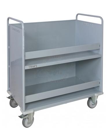 Carrello porta faldoni/fascicoli a 2 piani - 4 ruote gomma Ø cm 12,5 (2 girevoli con freno - 2 fisse) - cm 42x85x105h