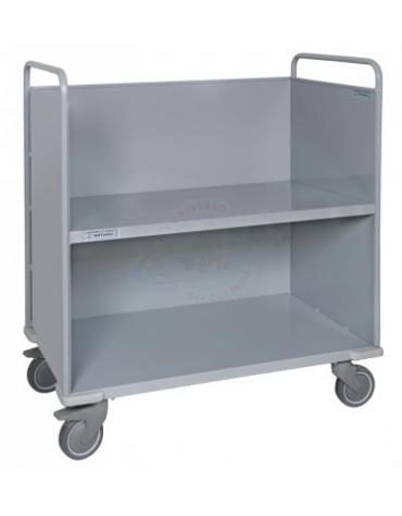 Carrello porta faldoni/fascicoli a 2 piani di cui 1 inclinato - 4 ruote gomma ad alta silenziosità Ø cm 12,5 - cm 52x85x105h