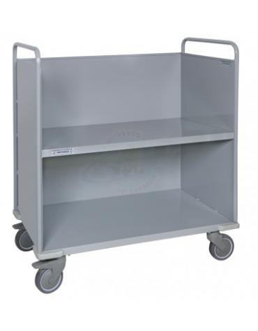 Carrello porta faldoni/fascicoli a 2 piani - 4 ruote gomma alta silenziosità Ø cm 12,5  - cm 51x95x105h
