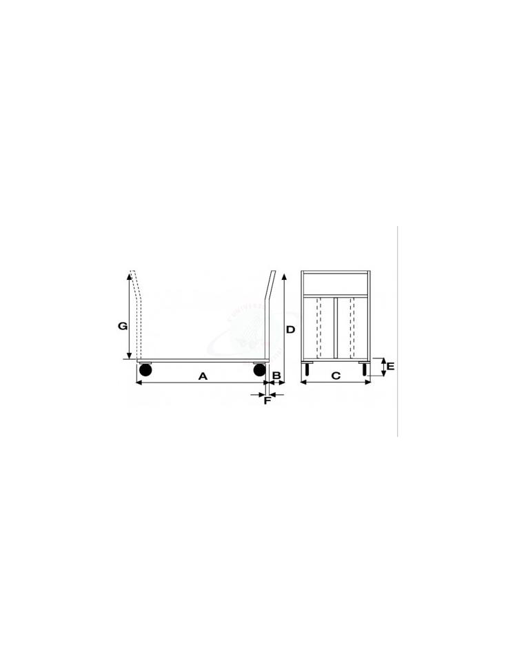 Pianale Grande mm 600x900 con 4 ruote girevoli