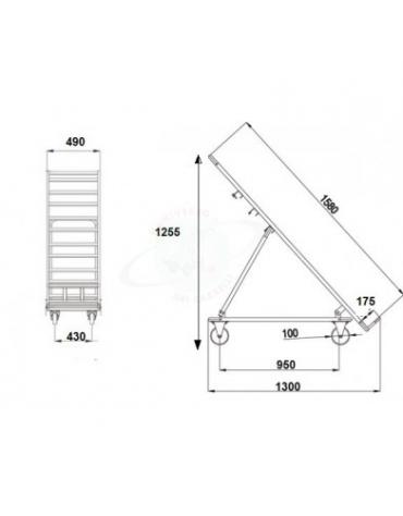 Espositore ortofrutta grande verniciato - 4 ruote (2 fisse - 2 girevoli con freno) nylon bianco Ø cm 10 - cm 158x51x137h