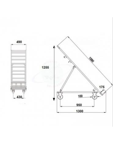 Espositore ortofrutta grande zincato - 4 ruote (2 fisse - 2 girevoli con freno) nylon bianco Ø cm 10 - cm 158x51x137h