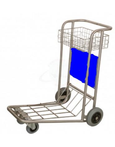 Carrello portabagagli compenetrabile cromato piano in rete e cestello cromato - cm 62x95x100h