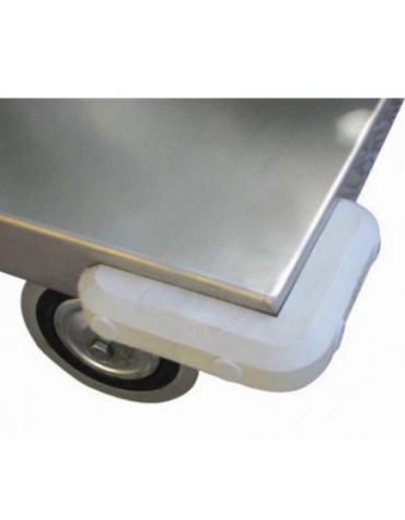 Carrello a 3 piani con bordo di contenimento in acciaio AISI 304 - 2 ruote fisse, 2 girevoli Ø cm 12,5 - cm 60x103x89,5h